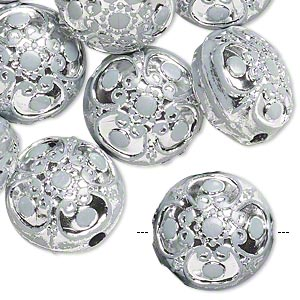 bead, acrylic, white and silver, 17mm double-sided puffed flat round with filigree design, 2.5mm hole. sold per pkg of 24.