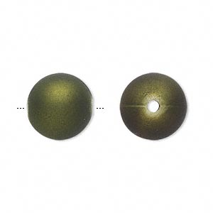 bead, acrylic with rubberized coating, avocado green, 14mm round. sold per pkg of 60.