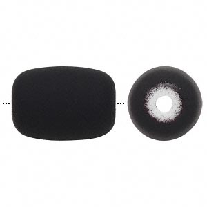 bead, acrylic with rubberized coating, black, 22x17mm round tube. sold per pkg of 20.
