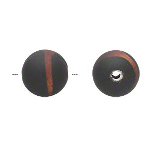 bead, acrylic with rubberized coating, black and brown, 14mm round. sold per pkg of 60.
