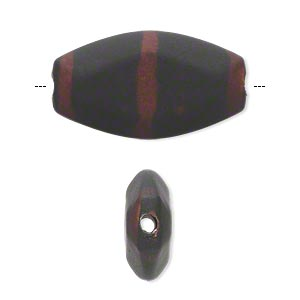 bead, acrylic with rubberized coating, black and brown, 28x16mm flat oval. sold per pkg of 30.