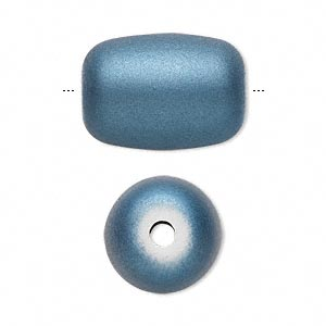 bead, acrylic with rubberized coating, blue, 22x17mm round tube. sold per pkg of 20.