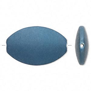 bead, acrylic with rubberized coating, blue, 50x32mm oval. sold per pkg of 10.