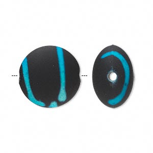 bead, acrylic with rubberized coating, blue and black, 18mm puffed flat round. sold per pkg of 40.