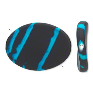 bead, acrylic with rubberized coating, blue and black, 35x26mm flat twisted oval. sold per pkg of 25.