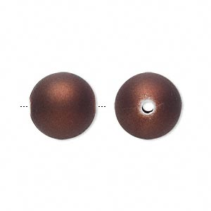 bead, acrylic with rubberized coating, brown, 14mm round. sold per pkg of 60.