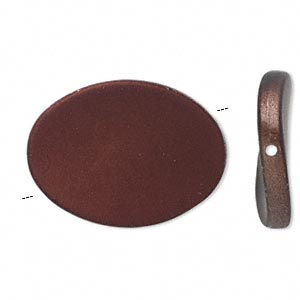 bead, acrylic with rubberized coating, brown, 35x26mm flat twisted oval. sold per pkg of 25. minimum 2 per order.