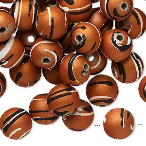 bead, acrylic with rubberized coating, burnt orange / black / white, 10mm round with stripes. sold per pkg of 100.