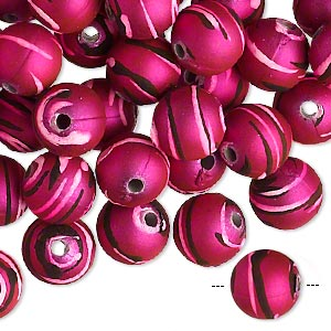 bead, acrylic with rubberized coating, fuchsia / black / pink, 10mm round with stripes. sold per pkg of 100.