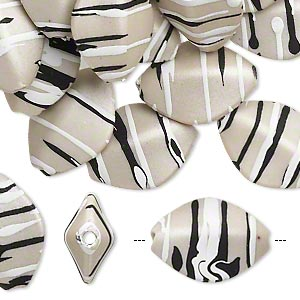 bead, acrylic with rubberized coating, grey / black / white, 17x13mm 4-sided marquise with stripes. sold per pkg of 50.