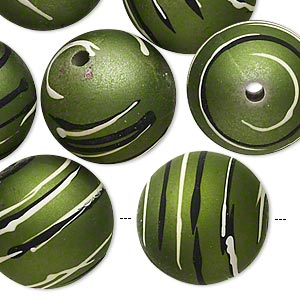 bead, acrylic with rubberized coating, olive / black / white, 20mm round with stripes. sold per pkg of 10.