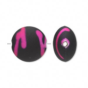 bead, acrylic with rubberized coating, pink and black, 18mm puffed flat round. sold per pkg of 40.