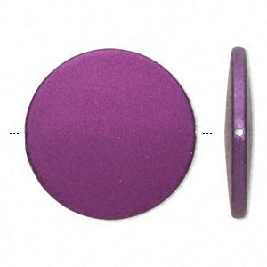 bead, acrylic with rubberized coating, purple, 41mm puffed flat round. sold per pkg of 10.