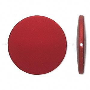 bead, acrylic with rubberized coating, red, 41mm flat round. sold per pkg of 10.