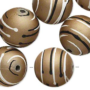 bead, acrylic with rubberized coating, tan / black / white, 20mm round with stripes. sold per pkg of 10.