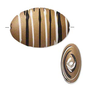 bead, acrylic with rubberized coating, tan / black / white, 28x19mm puffed oval with stripes. sold per pkg of 20.