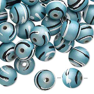 bead, acrylic with rubberized coating, teal / black / white, 10mm round with stripes. sold per pkg of 100.