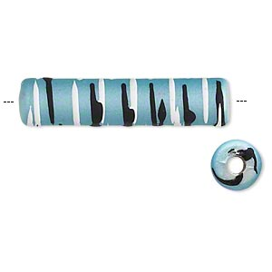 bead, acrylic with rubberized coating, teal / black / white, 34x8mm round tube with stripes. sold per pkg of 40.