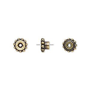 bead adaptor, tierracast beadaligners™, antique brass-plated pewter (tin-based alloy), 7x4mm beaded rondelle with 4mm peg. sold per pkg of 4.