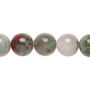 bead, african bloodstone (natural), 12mm round, b grade, mohs hardness 6-1/2 to 7. sold per 16-inch strand.