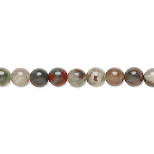bead, african bloodstone (natural), 6mm round, b grade, mohs hardness 6-1/2 to 7. sold per 16-inch strand.