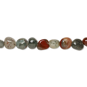 bead, african bloodstone (natural), small pebble, mohs hardness 6-1/2 to 7. sold per 8-inch strand, approximately 30 beads.
