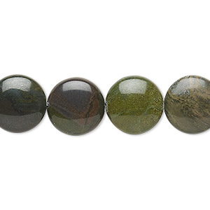 bead, african green jasper (natural), 12mm puffed flat round, b grade, mohs hardness 6-1/2 to 7. sold per 8-inch strand, approximately 15 beads.