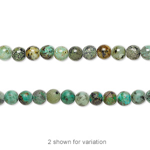 bead, african turquoise (dyed), 4mm round, c grade, mohs hardness 6-1/2 to 7. sold per 16-inch strand.