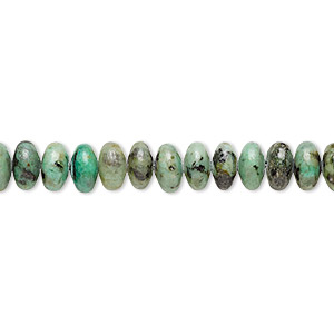 bead, african turquoise (dyed), 6x4mm rondelle, c grade, mohs hardness 6-1/2 to 7. sold per 16-inch strand.