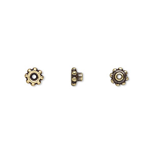 bead aligner, tierracast beadaligners™, antique brass-plated pewter (tin-based alloy), 5x3mm beaded rondelle with 2.5mm peg. sold per pkg of 4.