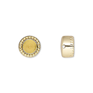 bead, almost instant jewelry, gold-plated pewter (zinc-based alloy), 10mm beaded round with ss29 rivoli setting. sold individually.