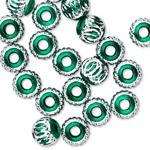 bead, aluminum, green, 8mm diamond-cut round with 2.5-3.5mm hole. sold per pkg of 20.