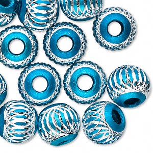 bead, aluminum, turquoise blue, 12mm diamond-cut round with 4.5-5.5mm hole. sold per pkg of 20.