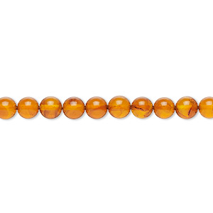 bead, amber and resin (assembled), 5mm round, mohs hardness 2 to 2-1/2. sold per 16-inch strand.