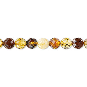bead, amber and resin (assembled), multicolored, 6mm faceted round with 0.5-1.5mm hole, mohs hardness 2 to 2-1/2. sold per 16-inch strand.