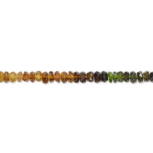 bead, amber-green tourmaline (natural), 3x1mm-4x3mm hand-cut faceted rondelle, b- grade, mohs hardness 7 to 7-1/2. sold per 14-inch strand.