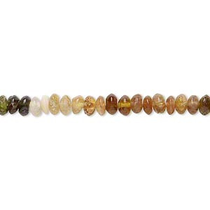 bead, amber-green tourmaline (natural), 3x2mm-5x3mm hand-cut saucer, c grade, mohs hardness 7 to 7-1/2. sold per 14-inch strand.