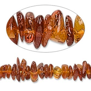 bead, amber (heated), medium to dark, small chip, c grade, mohs hardness 2 to 2-1/2. sold per 16-inch strand.