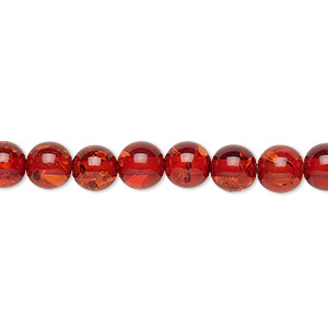 bead, amber (imitation), medium to dark, 6mm round. sold per 16-inch strand.