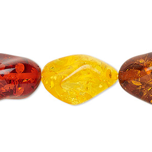 bead, amber (imitation), multicolored, large nugget. sold per 16-inch strand.