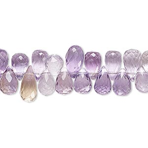 bead, amethyst / ametrine / citrine (natural / heated), 7x4mm-10x6mm hand-cut top-drilled faceted teardrop, b- grade, mohs hardness 7. sold per 4-inch strand.