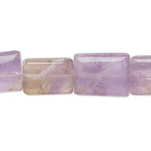 bead, amethyst and ametrine (natural / heated), 12x10mm-16x13mm hand-cut flat rectangle, c- grade, mohs hardness 7. sold per 14-inch strand.