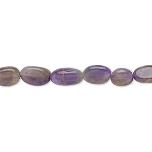 bead, amethyst (natural / dyed), 5x4mm-12x7mm hand-cut flat oval, d grade, mohs hardness 7. sold per 13-inch strand.
