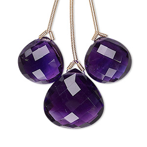 bead, amethyst (natural), 14x14mm and 18x18mm hand-cut top-drilled faceted pear, b grade, mohs hardness 7. sold per pkg of 3 beads.