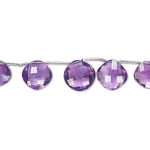 bead, amethyst (natural), 7x7mm-10x10mm graduated hand-cut top-drilled faceted cushion, b grade, mohs hardness 7. sold per 4-inch stand, approximately 9 beads.