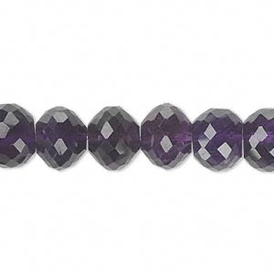 bead, amethyst (natural), dark, 10x8mm hand-cut faceted rondelle, b grade, mohs hardness 7. sold per pkg of 10.