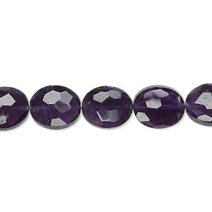 bead, amethyst (natural), dark, 11x9mm hand-cut faceted puffed oval, b+ grade, mohs hardness 7. sold per pkg of 5.