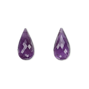 bead, amethyst (natural), dark, 16x8mm hand-cut top-drilled faceted briolette, b grade, mohs hardness 7. sold per pkg of 2.