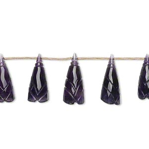bead, amethyst (natural), dark, 18x8mm-24x10mm graduated hand-cut top-drilled carved cone flower, b+ grade, mohs hardness 7. sold per pkg of 5 beads.