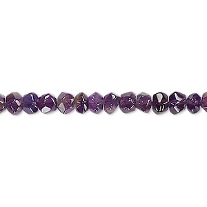 bead, amethyst (natural), dark, 5x3mm-6x5mm hand-cut faceted rondelle, c+ grade, mohs hardness 7. sold per 14-inch strand.